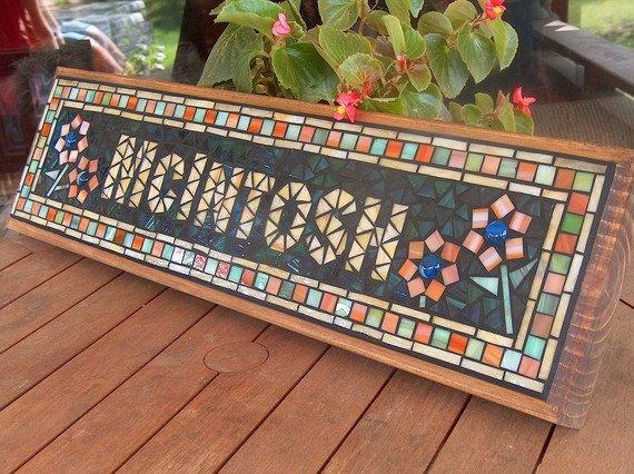 Síntomas de mosaico personalizados / placa - nombre / dirección