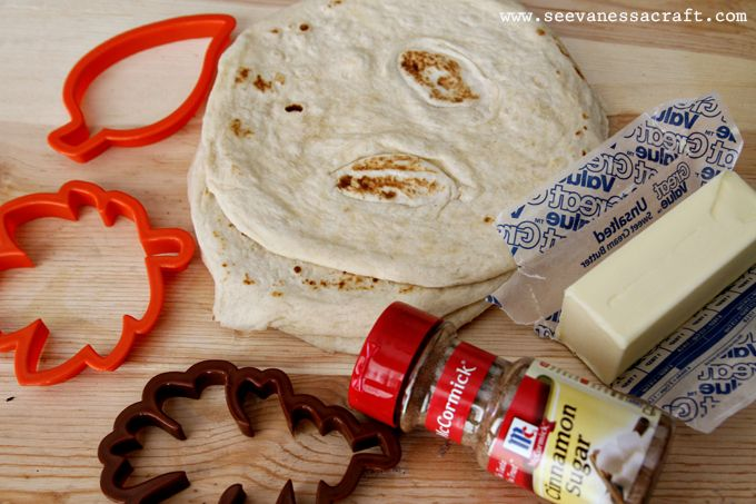 (edible craft) cinnamon sugar leaf tortilla chips