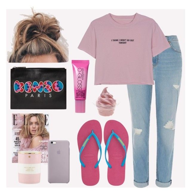"""""""sunday"""" by nabiladea on Polyvore featuring Havaianas, River Island, WithChic, Kenzo, Kate Spade, Disney and Smashbox"""