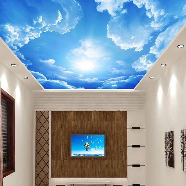 Moderne 3d Foto Tapete Blauen Himmel Und Weissen Wolken Wand