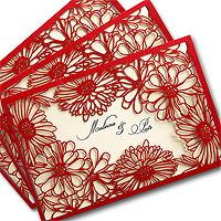 wedding cards red laser cut