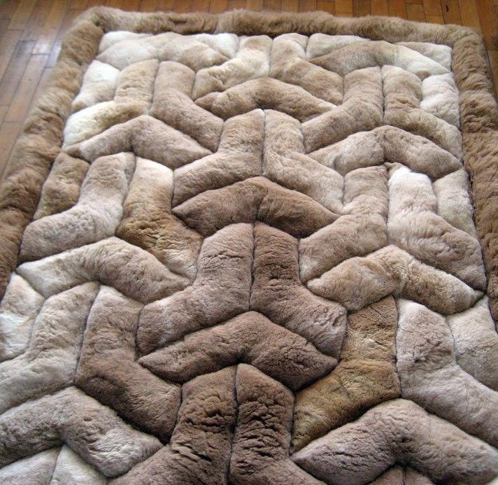 "Alpaca Fur Rug. Area Rug 71"" X 80"". Rectangle Brown.""Y"" Design. Soft alpaca fur."