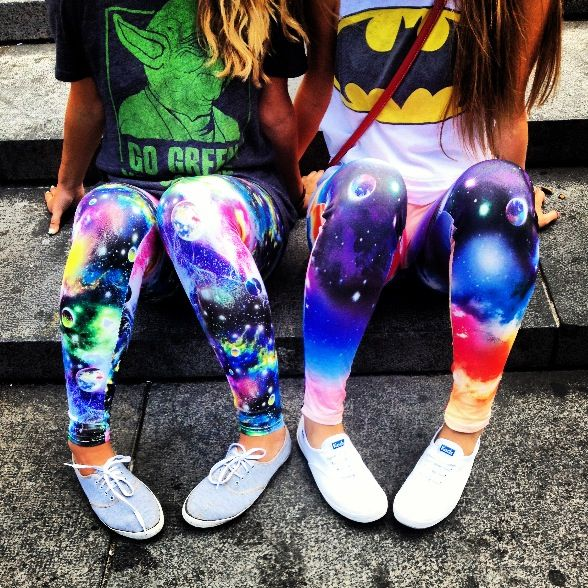 Galaxy leggings and graphic tees