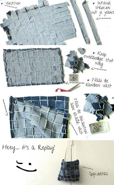 Zelf een tas maken van je oude spijkerbroek? Zo doe je dat! diy-kleren.nl #DIY #Replay #Tas