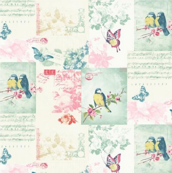 Papier peint de luxe holden chanteurs cartes lettres fleurs papillons oiseaux - Papier peint oiseaux ...