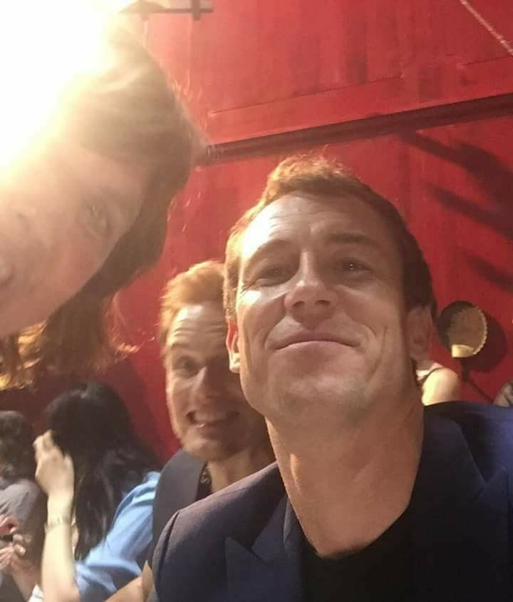 Some photo bombing being done by Sam Heughan on a photo of Tobias Menzies - San Diego Comic Con festival - Outlander_Starz Season 3 Voyager - July 21st, 2017