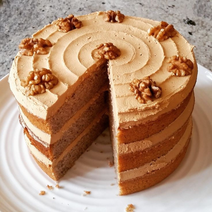 Coffee & Walnut Cake ~ three coffee-walnut sponge layers with coffee frosting and walnut halves to finish | by GBBO s5 finalist Richard Burr via his website