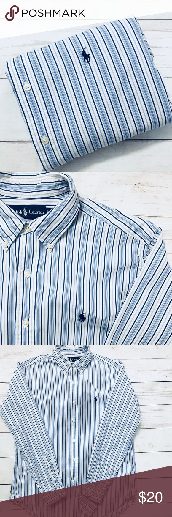 """SALE 1/$20•2/$35•3/$50•POLO• RALPH• LAUREN•  Military, police & fire men & women receive 10% discount  men's  long sleeve 100% cotton oxford shirt• M CLASSIC FIT per tag, see measurements below•  Signature pony•  GUC•   shoulder: 19"""" Chest: 24"""" (armpit-armpit) Sleeve: 34"""" Length: 31""""  CHECK BACK EACH WEEK FOR NEW POLO LISTINGS Polo by Ralph Lauren Shirts Casual Button Down Shirts"""