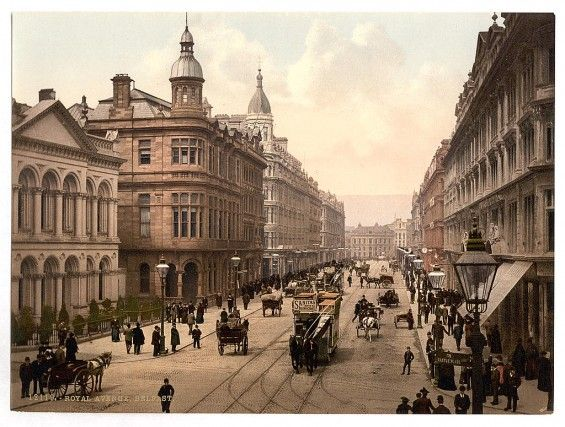 """Going to cheat a bit on """"I want to stand here,"""" since this is a 120 year old color photo of Belfast, but...."""