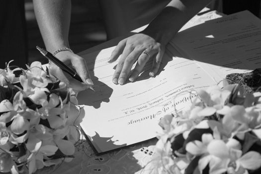 Bringing the legal documents Signing your marriage certificate after the wedding ceremony is one of the most important aspects of your day; after all, it officialises the reason you threw a wedding in the first place!  Notice of Intended Marriage at least one month and a day before your wedding day, and bringing along three marriage certificates for you to sign on the day. Check with them a few days before the wedding so you can have peace of mind.