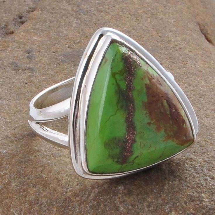 EXCLUSIVE 925 STERLING SILVER GREEN COPPER TURQUOISE RING JEWLLERY 6.01g R01257 #Handmade #RING