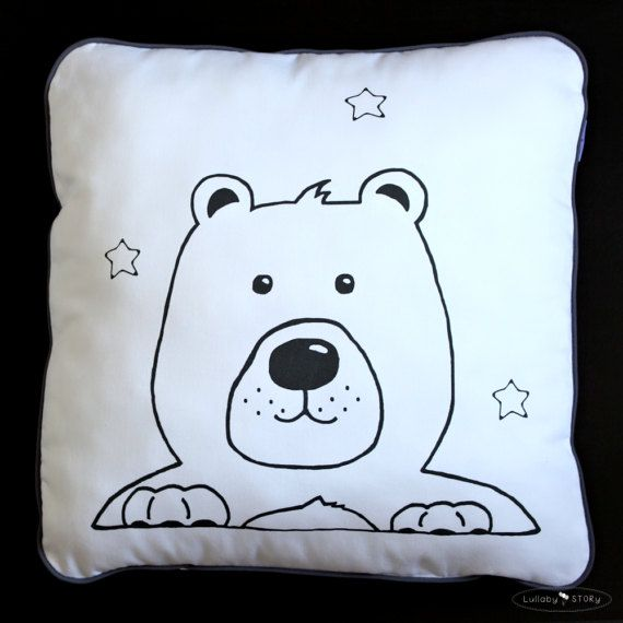 Teddy Bear Cushion-Decorative Pillow-Children room by LullabySTORY