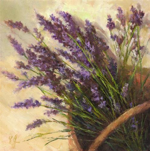 """Basket of Lavenders"" - Original Fine Art for Sale - © Linda Jacobus"