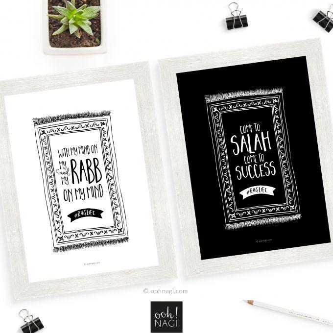Islamic, art, set, black and white, salah, musallah, rug, prayer, namaz, ruglife, quirky, handdrawn, sketch, drawing, pen and ink, doodle, designer, art, print