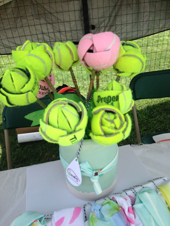 Tennis Ball Flowers set of 3 by SmashingCouture on Etsy