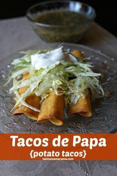Tacos de Papa {potato tacos} - Latina Mama Rama. Potato tacos? My family will LOVE these. (And they are PERFECT for #MeatlessMonday)