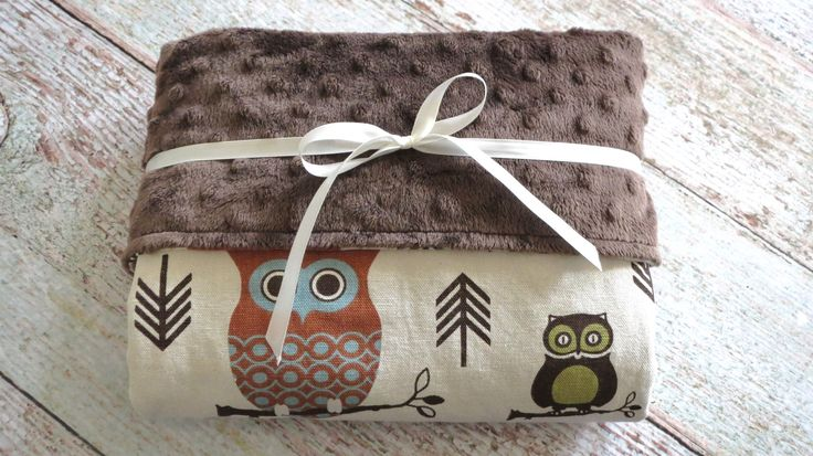 Baby boy is sure to snuggle with this owl baby blanket for years to come. Super stylish and modern brown minky blanket with owl and arrows is a great addition to the nursery. This boy minky blanket is