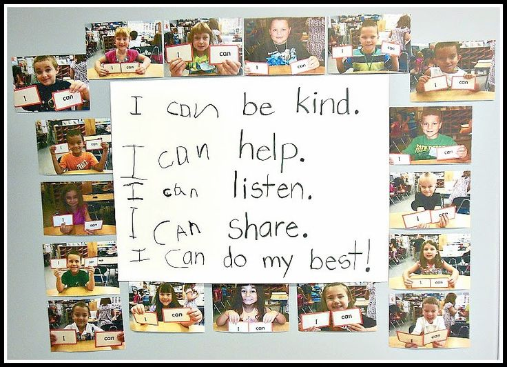 "Love these very first ""I Can"" statements!  (Shared by Carolyn at Kindergarten: Holding Hands and Sticking Together.)"