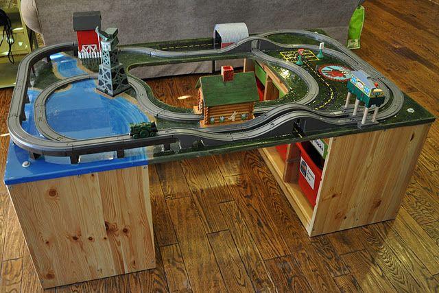 Train table! Love the painted tracks: sleek.