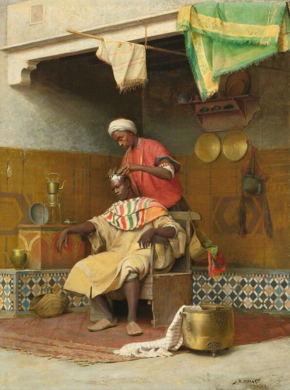 The Barber Shop, Tangiers Painting by Jean Discart,  French, 1856 - 1944  Tangiers : A city of northern Morocco at the west end of the Strait of Gibraltar. Founded by the Phoenicians and later controlled by a variety of powers, including Portugal and Great Britain, it was administered as part of an international zone from 1923 until 1956.