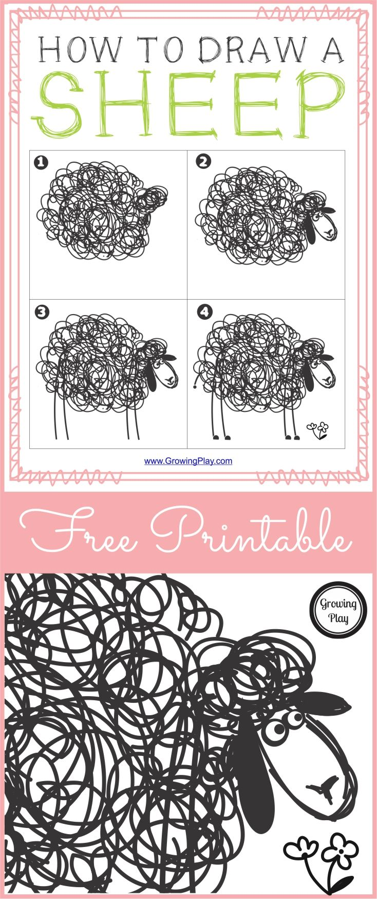 Here is a FREE printable on how to draw sheep (download at the bottom of the post).  I thought this sheep was adorable.  There are a few things you could do depending upon the age of the child.