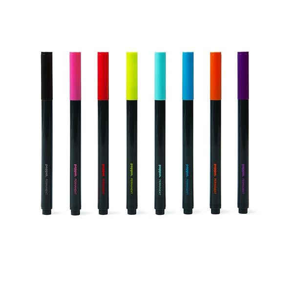 Assorted Slim Permanent Markers, Set of 8,