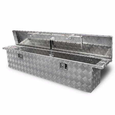 70 inch Truck Tool Box Aluminum Pickup Cross Body Bed, with Build-in Lock, Silver