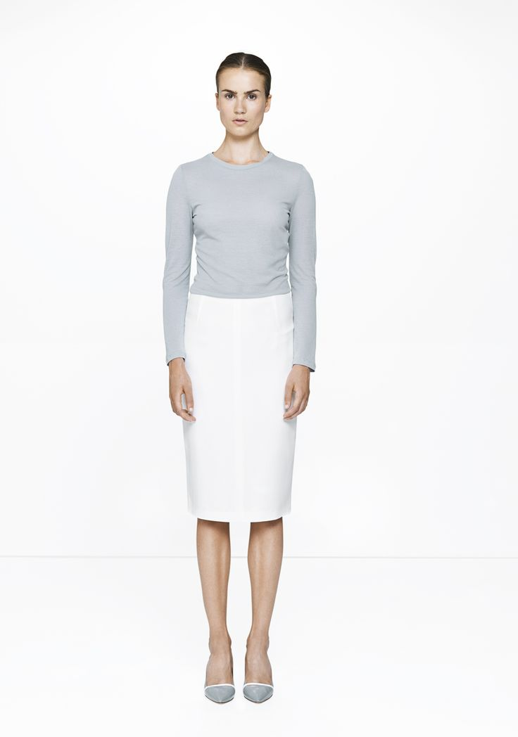 White pencil skirt with Valdes long sleeved tee /368-2901/191  ELISE GUG SS15