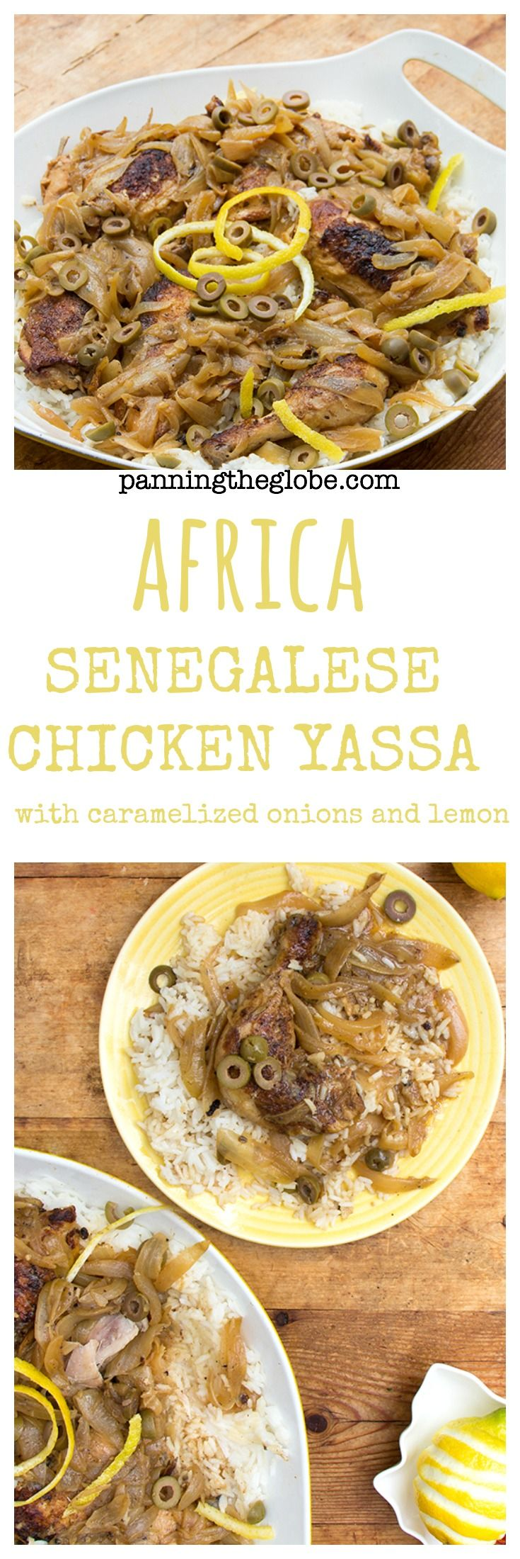 Lemony Chicken with Caramelized Onions. A recipe for the famously delicious West African Chicken Yassa.