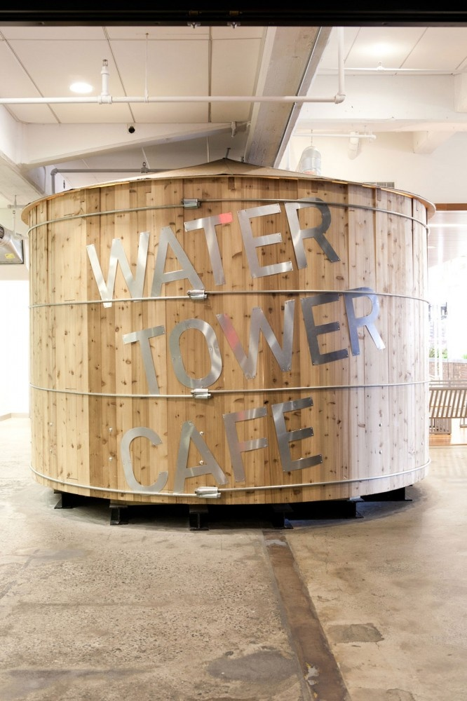 "Google Office - A Tour Of Google's Offices - 2012 - ""The Water Tower Cafe has a rooftop theme, since it's level w/ the building's neighboring rooftops"""