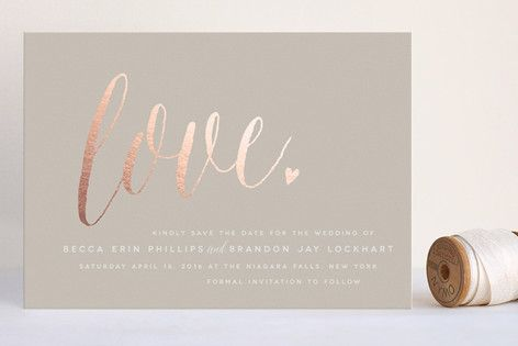 """""""Charming Love"""" - Whimsical & Funny Foil-pressed Save The Date Cards in Kraft by Melanie Severin."""