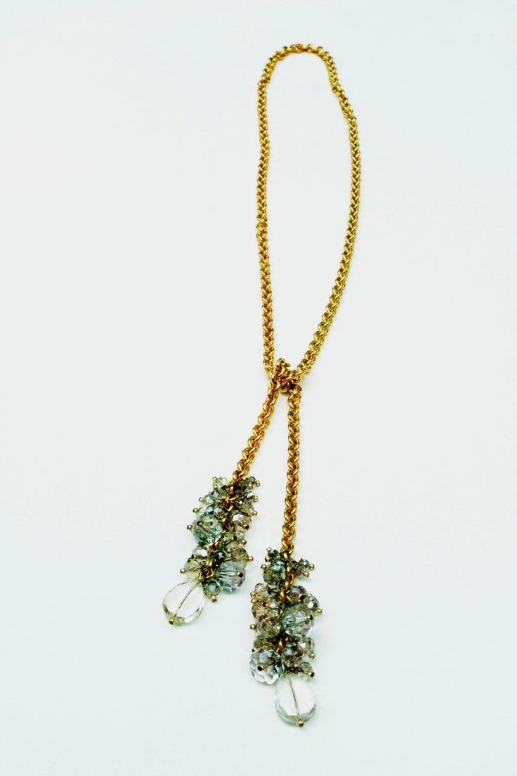 Crystal Beaded Lariat Necklace Beaded Lariat
