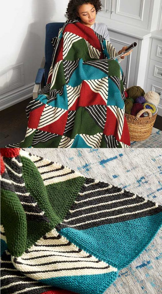 Patchwork Blanket Free Knitting Pattern. Easy blanket Knitting pattern. Modern knitting, home decor knits. Garter stitch project. Garter stitch on the bias.