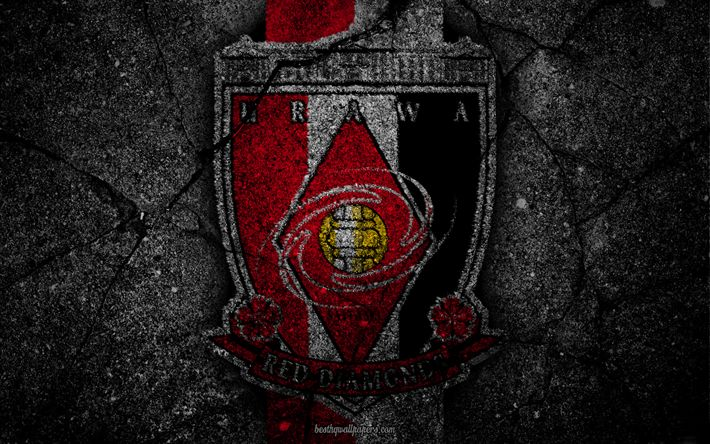 Download wallpapers Urawa Reds, logo, art, J-League, soccer, football club, Urawa Red Diamonds, asphalt texture, FC Urawa