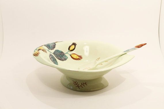 SALE 25% OFF   Serving Bowl Ceramic Bowl Salad by ClockworkRummage