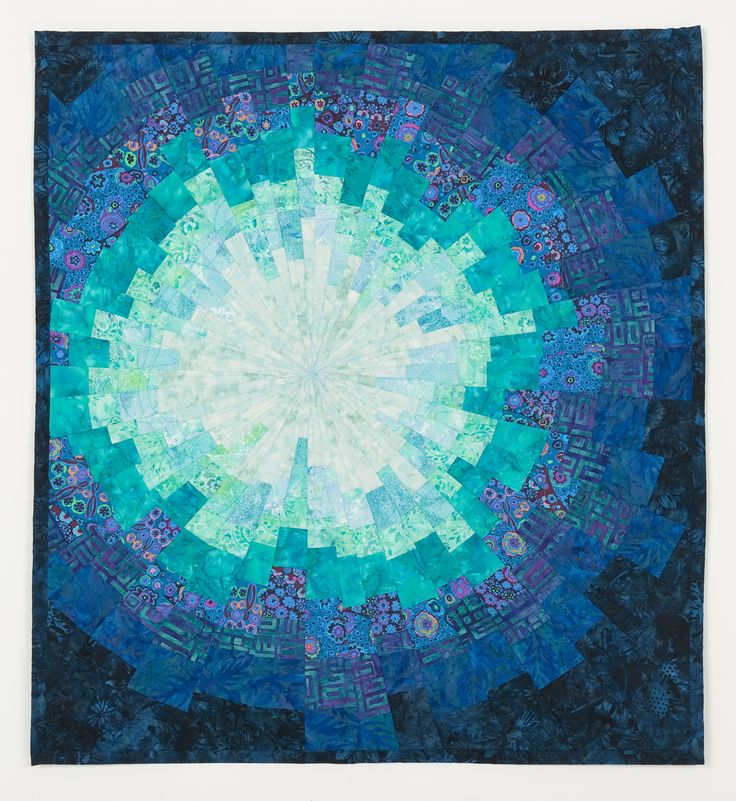 Teal Starburst Art Quilt by Sharon Koppel
