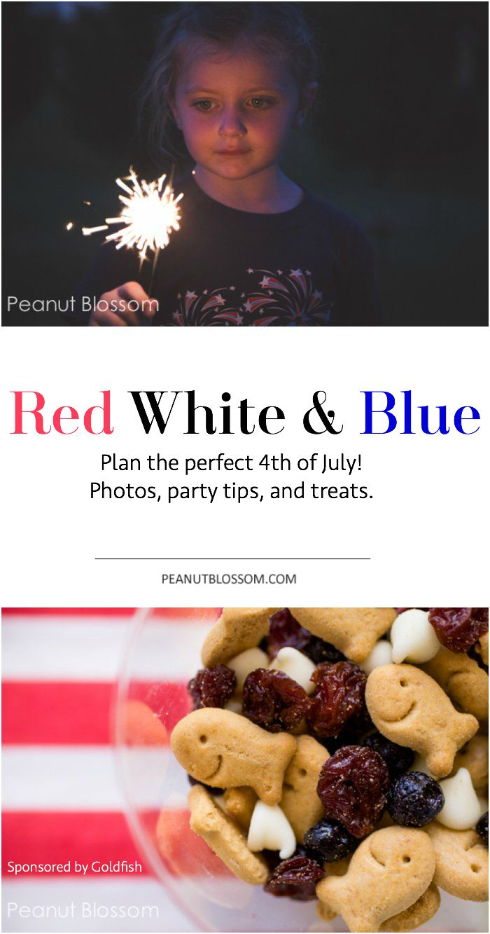 Perfect party tips for the 4th of July! How to have a sweet and simple time. Photography tricks, entertaining ideas, and an adorable red white and blue snack mix. Too fun!