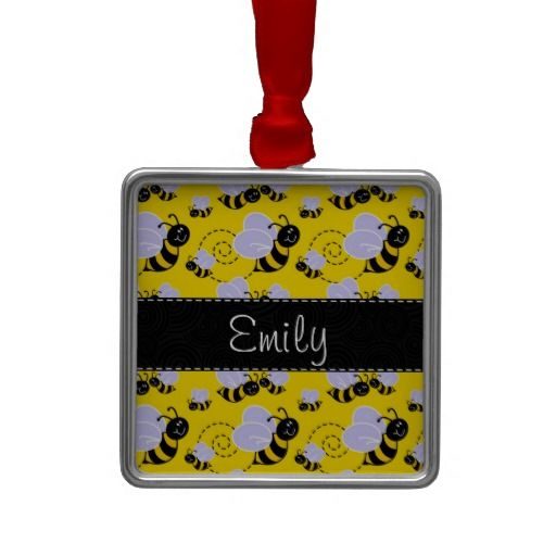 Yellow Black Bumble Bee Christmas Tree Ornament