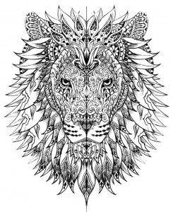 Dibujos para colorear mandala león