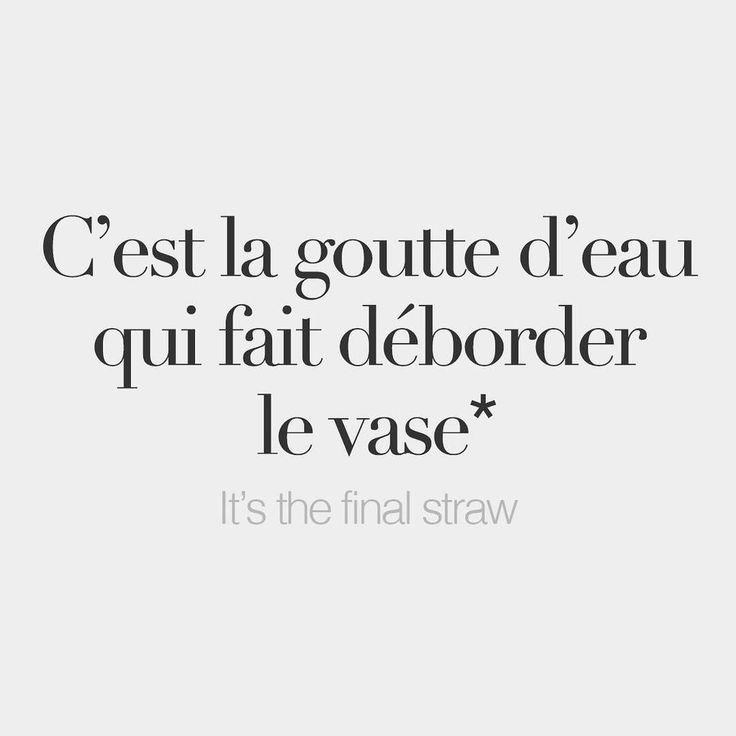 C'est la goutte d'eau qui fait déborder le vase = It's the final straw (Lit: It's the drop of water that makes the vase overflow)