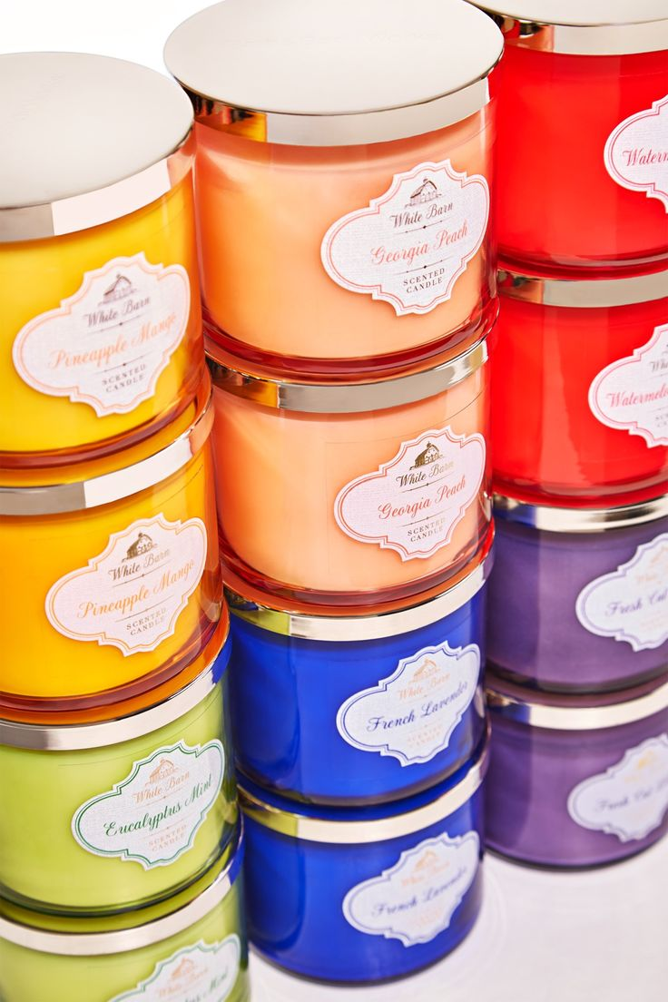 Add a pop of color to every room with White Barn 3-Wick Candles!