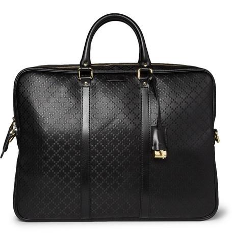 Gucci Diamond-Embossed Leather Briefcase | MR PORTER