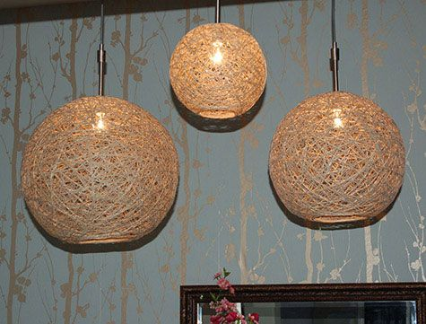 DIY Hemp Pendant Lamps / could also make some out of paper mache or plaster