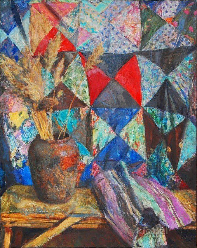 Бабицын Виктор «Натюрморт с лоскутным одеялом»