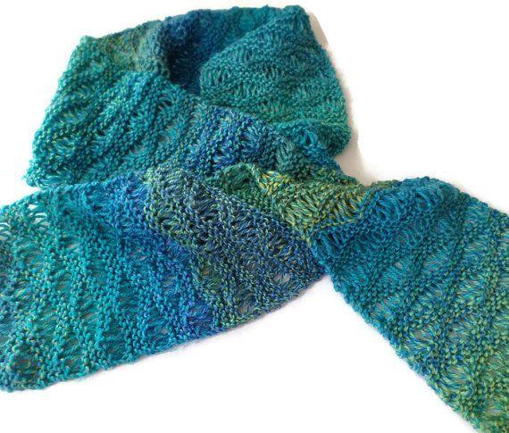 Scarf Ladies Hand Knit Drop Stitch Scarf in by PointedNeedle