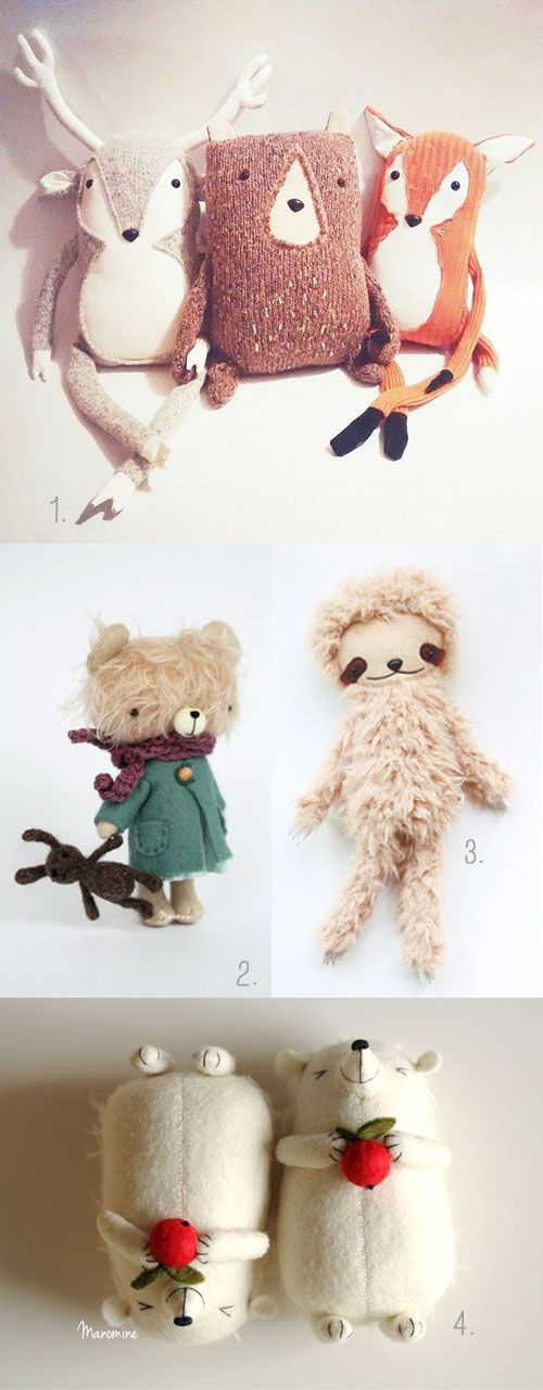 A few favorites I'm in love in these cold days… Let's stay warm and cozy ;) 1. animal #plushes by The Traveling Shoppe 2. mini felted toy by Manomine 3. sloth plush by Bijoukitty 4. mini hedgehoges by Manomine
