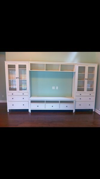 ikea hemnes entertainment center, painted furniture, IKEA Hemnes bridge actually hangs from the side units and bolts in place from the top utilizing overlapping brackets.  Works as around the bed storage also, just omit lower middle piece