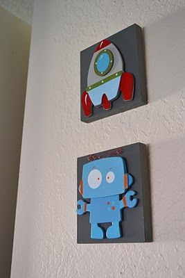 Robot Wall Art Tutorial - wall art for boys rooms by The New Witty's