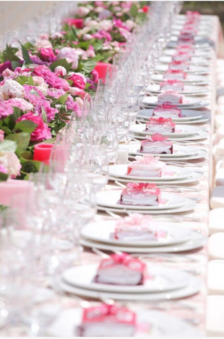 pink details on a tableful
