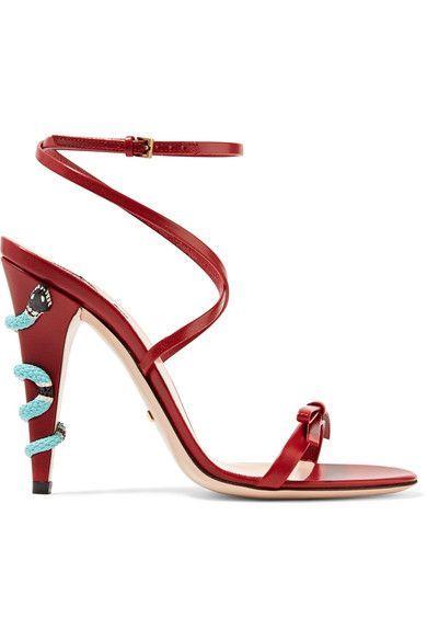Gucci - Embellished Leather Sandals - Claret - IT35.5